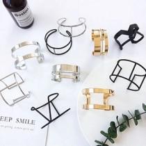 韓國簡約造型氣質金屬質感幾何反光面手環手臂環