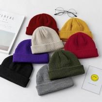 秋冬造型厚毛線西瓜帽潮流帽個性簡約日韓系毛帽