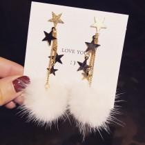 秋冬仿貂毛球星星造型長款耳環可愛氣質甜美垂墜毛球飾品