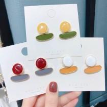 糖果色簡約幾何圖形搭配簡約耳釘可愛普普風格耳環