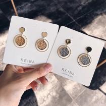 韓國金屬圓形耳釘同心圓編織造型耳環幾何圖形氣質垂墜飾品