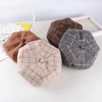 氣質格紋學院風八角帽貝蕾帽畫家帽英倫風南瓜帽毛呢料材質硬版帽