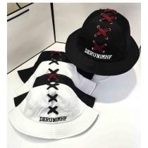 日韓系原宿鞋帶造型字母漁夫帽盆帽遮陽帽夏天防曬情侶帽