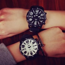 韓國潮流個性帥氣超大錶鏡立體顏色數字男錶女錶情侶錶