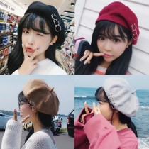 韓國造型素款百搭厚板毛料貝蕾帽南瓜帽八角帽畫家帽