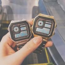 方形鋼鍊帶手錶潮男潮女電子錶數字時間多功能帥氣精品手錶情侶錶