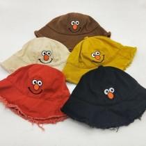 寶寶遮陽帽芝麻街刺繡造型兒童漁夫帽防曬可愛毛毛邊笑臉帽