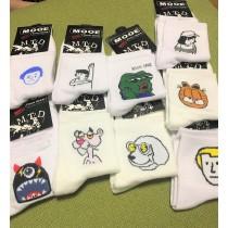 超可愛卡通白底短襪KUSO怪物創意百搭短襪潮流短襪男襪女襪