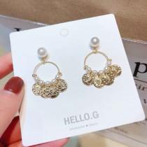氣質縷空圓形珍珠垂墜耳環簡約幾何圖形金屬耳環