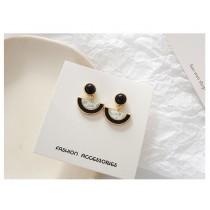 精緻小巧圓形圓弧形黑白大理石紋造型耳釘耳環夾式耳環