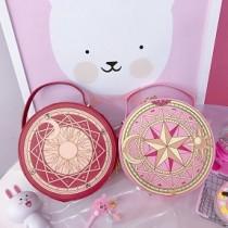 魔法鎮可愛卡通大容量硬板立體圓形粉嫩手提化妝包化妝箱