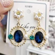 歐美華麗藍寶石白色珍珠氣質時尚PARTY款耳環垂掛飾品