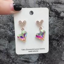 華麗鑽鑽愛心耳釘愛心寶石氣質優雅精緻耳環blingbling貼耳耳環