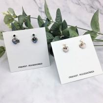 甜美氣質小巧精緻愛心造型大理石紋寶石設計耳環夾式耳環
