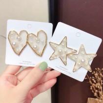 楊丞琳同款求婚成功愛心星星造型白色珍珠耳釘耳環