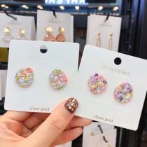 韓國東大門直送七彩亮片造型文青可愛甜美耳釘耳環夾式耳釘耳環