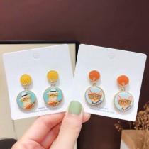 韓國手工設計款貓咪造型糖果色耳釘耳環手作貓貼耳耳環