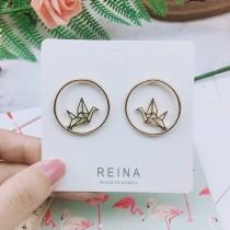 韓國縷空圓形摺紙鶴千紙鶴造型貼耳耳環金色氣質圓形耳環