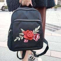 玫瑰刺繡黑色尼龍材質後背包手提包單肩背包防水包
