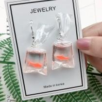 可愛造型夜市撈魚立體設計耳環特色創意垂墜耳環