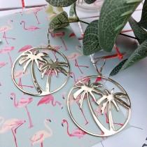 金屬圓形棕梠樹造型耳環幾何圖形簡約垂墜飾品