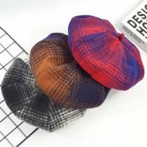 蘇格蘭格紋風格復古學院八角帽南瓜帽硬板貝蕾帽畫家帽