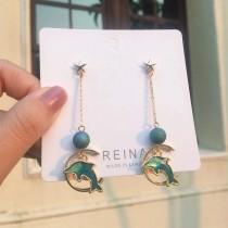 韓國海洋系藍綠色海豚造型耳環氣質文青長形耳環手作設計款耳環