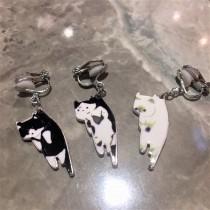 創意可愛拎貓咪耳環貓奴最愛垂掛飾品單支單賣