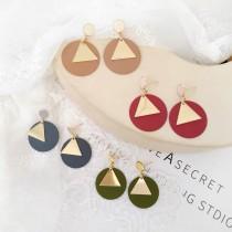 簡約霧面圓形設計金屬三角形設計耳釘耳環百搭夾式耳環
