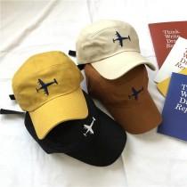 韓國可愛飛機刺繡造型百搭老帽棒球帽鴨舌帽防曬帽男女皆可