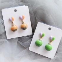 超可愛愛心耳釘珍珠奶茶造型耳環kuso創意造型夾式耳環