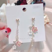 韓國氣質立體小花長形金屬優雅耳環愛心鑽鑽耳釘垂墜耳環