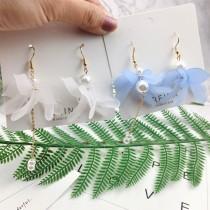韓國設計款仙氣優雅氣質長形霧面立體花瓣耳環空靈文藝風格夾式耳環