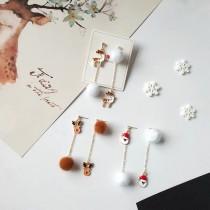 聖誕系列造型長形耳環聖誕老人麋鹿耳環飾品聖誕PARTY必備夾式耳環
