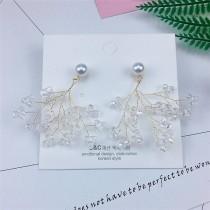 韓國空靈系金屬樹枝透明果實造型耳釘耳環設計手作耳環