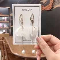 芭蕾舞者造型長形耳環立體透白色舞裙氣質修飾垂墜耳環