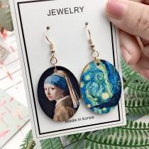 藝術名畫圖橢圓木質設計耳環垂墜飾品輕盈造型耳環